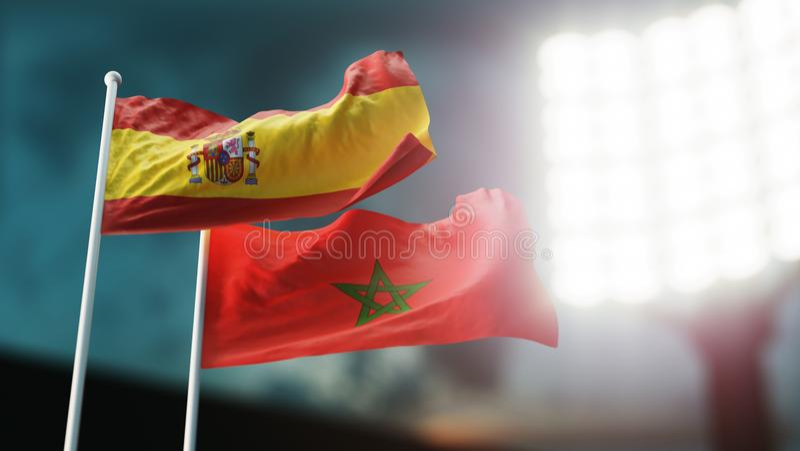 Abbildung 3D Zwei Staatsflaggen, die auf Wind wellenartig bewegen Nachtstadion Meisterschaft 2018 Fußball Spanien gegen Marokko vektor abbildung