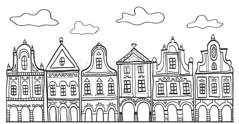 Abbildung der alten verzierten Dorfhäuser stock abbildung