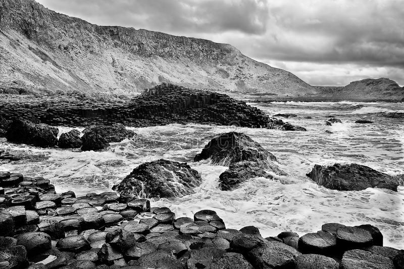 Abbildung der Dammes des Riesen in Nordirland. stockbild