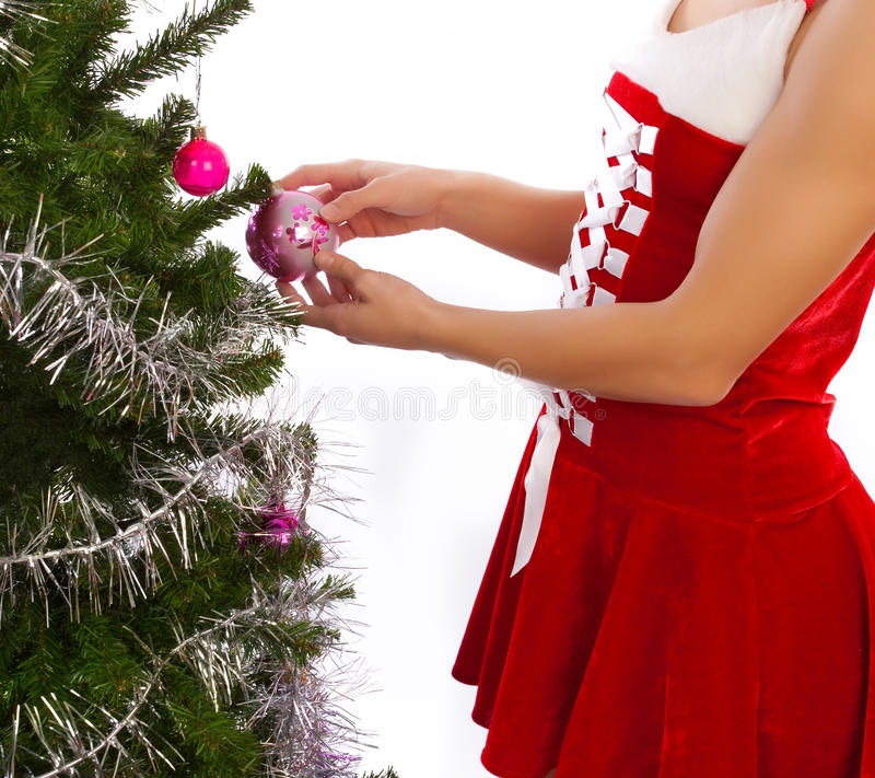 Abbildung der Dekoration des Weihnachtsbaums stockfotografie