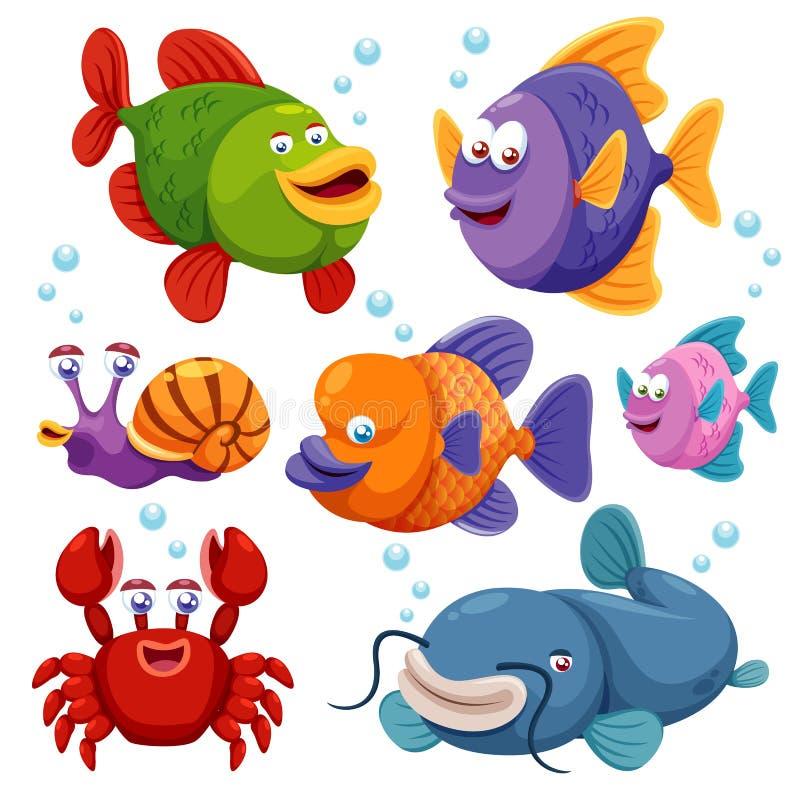Abbildung der Fischansammlung stock abbildung
