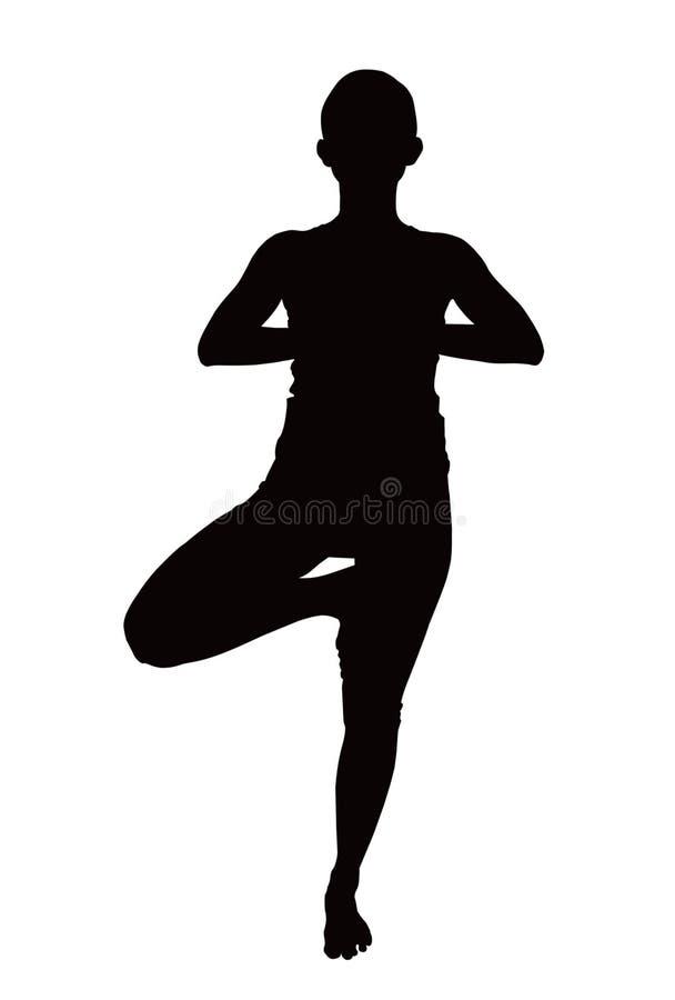 Abbildung der Frau Yogaübung tuend stockfotografie