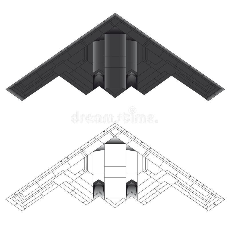 Abbildung des Bombers B-2 vektor stock abbildung