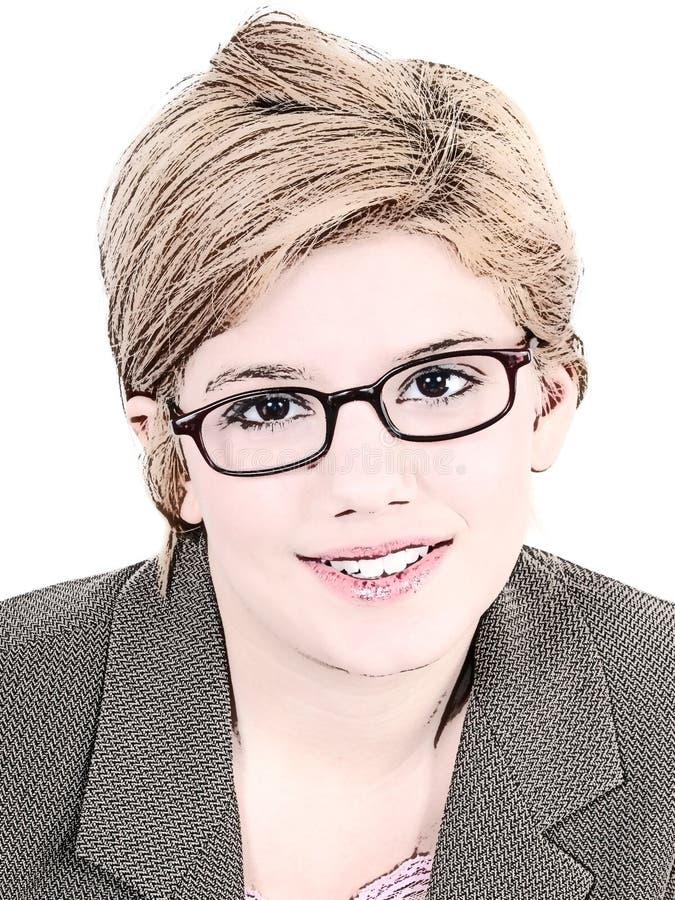 Abbildung des jugendlich Mädchens in den Brillen lizenzfreie abbildung