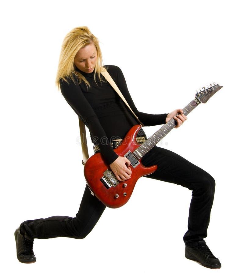 Abbildung des Mädchens mit elektrischer Gitarre stockbilder