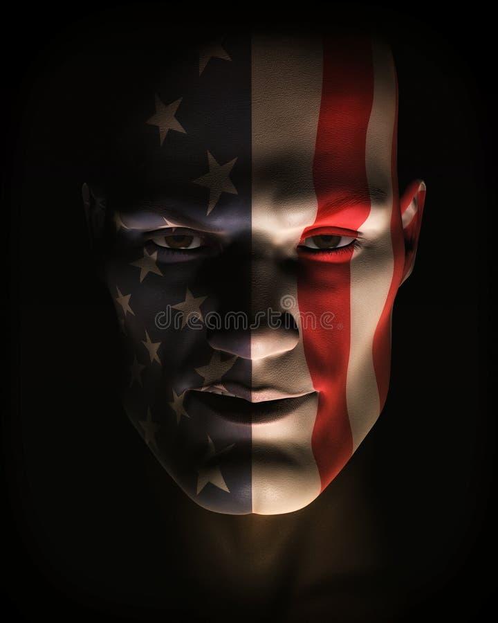 Abbildung des Mannes USA-Markierungsfahnen-Gesichts-Lack tragend stock abbildung