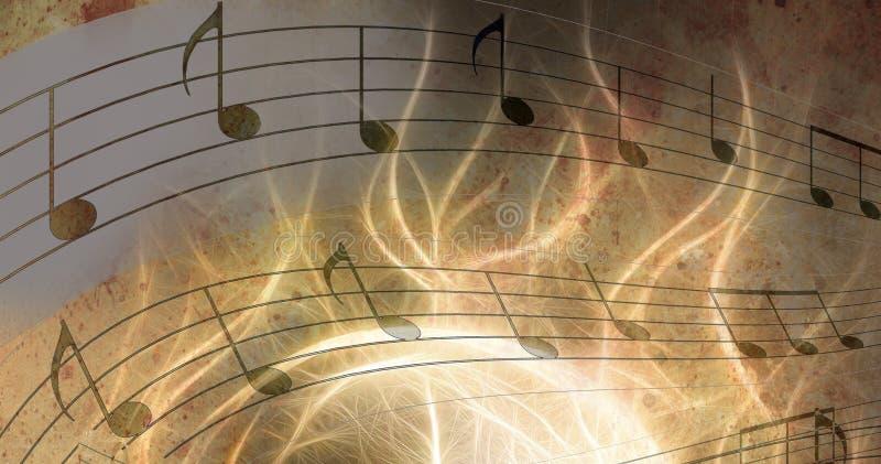 Abbildung des Retro musikalischen Hintergrundes des Schmutzes mit Anmerkungen lizenzfreie abbildung
