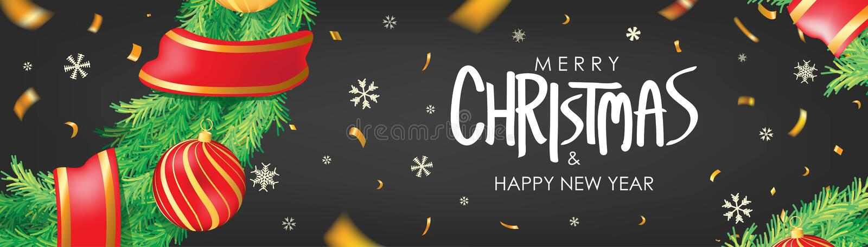 Abbildung des VektorEps10 Schwarzer Weihnachtshintergrund mit Weihnachtsbällen, Schneeflocken und Goldkonfettis Horizontales Weih lizenzfreie abbildung