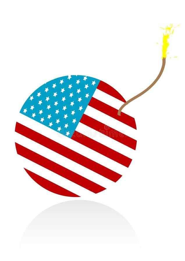 Abbildung einer brennenden Bombe mit amerikanischer Flagge lizenzfreie abbildung