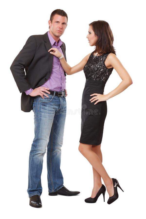 Abbildung eines eleganten Paares im Studio lizenzfreies stockfoto
