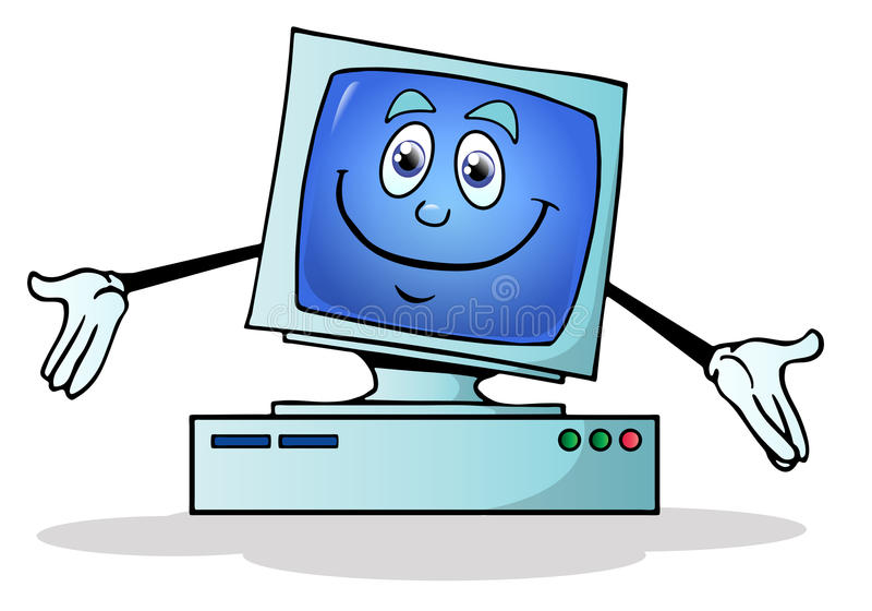 Abbildung eines glücklichen Computers lizenzfreie abbildung