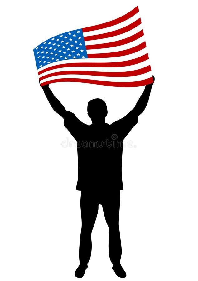 Abbildung eines Mannes, der die USA-Markierungsfahne strömt lizenzfreie abbildung