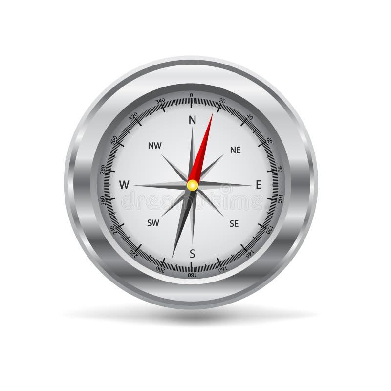 Abbildung eines silbernen Kompassses stock abbildung