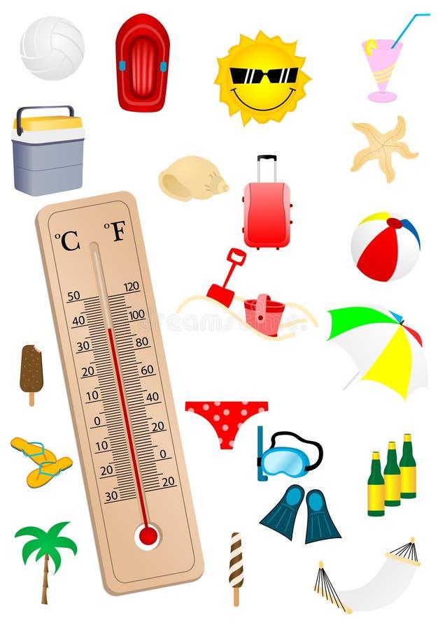Abbildung eines Thermometers stock abbildung