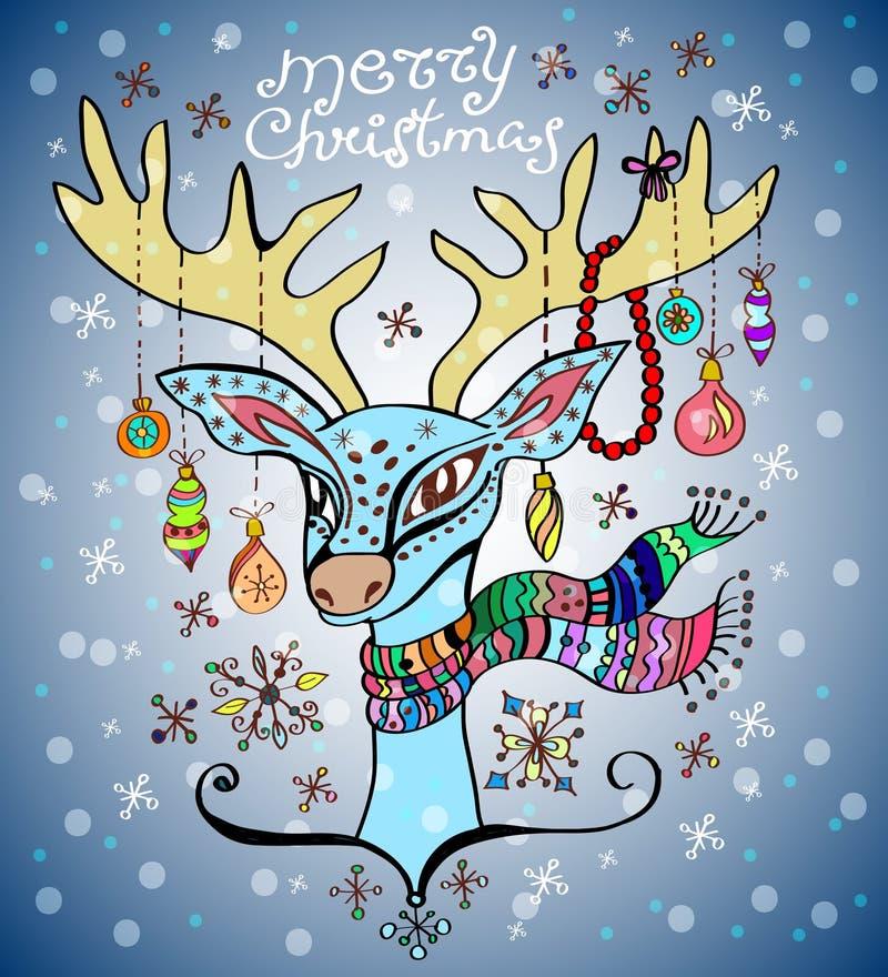 Abbildung eines Weihnachtsrotwilds lizenzfreie abbildung