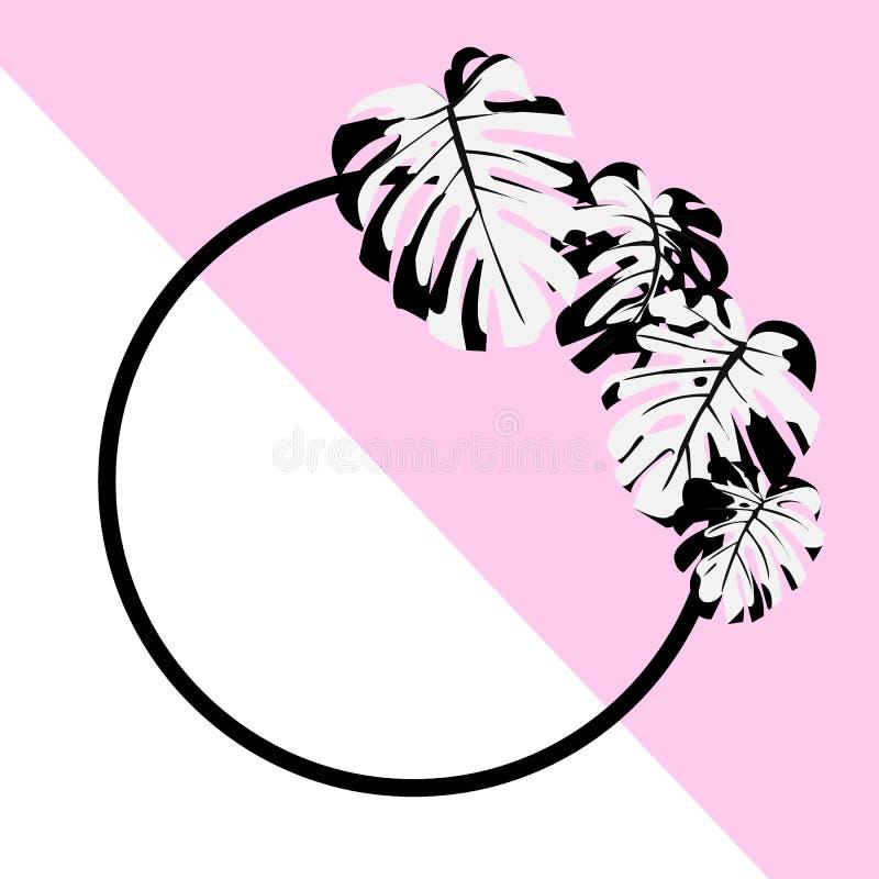 Abbildung Exotische tropische Anlage Monstera-Blätter Schwarz, Weiß und Rosa Rundes Feld lizenzfreie abbildung