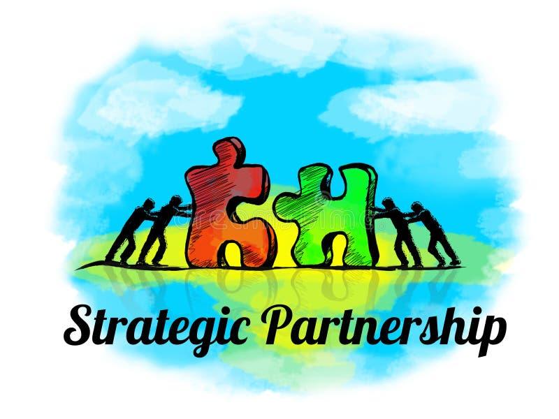 Abbildung Geschäftskonzept der Teamwork mit Puzzlen Strategische Teilhaberschaft lizenzfreie abbildung
