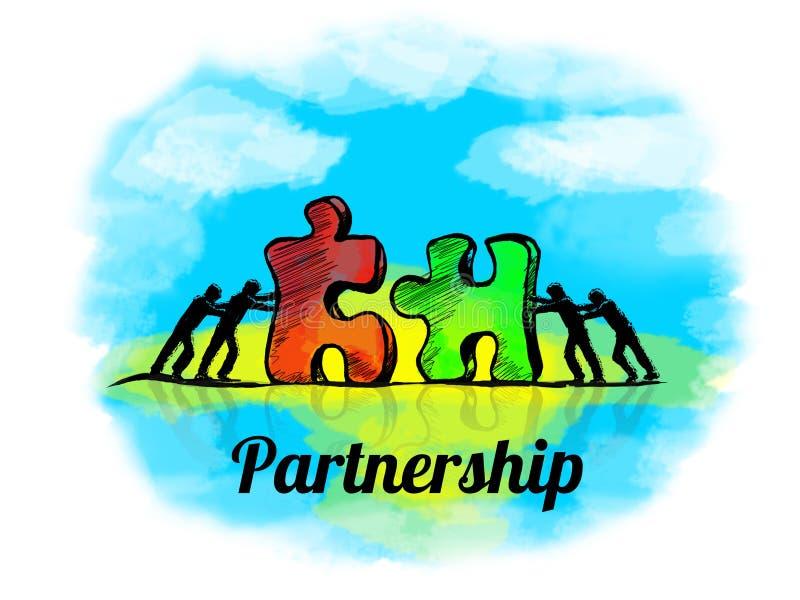 Abbildung Geschäftskonzept der Teamwork mit Puzzlen teilhaberschaft stock abbildung