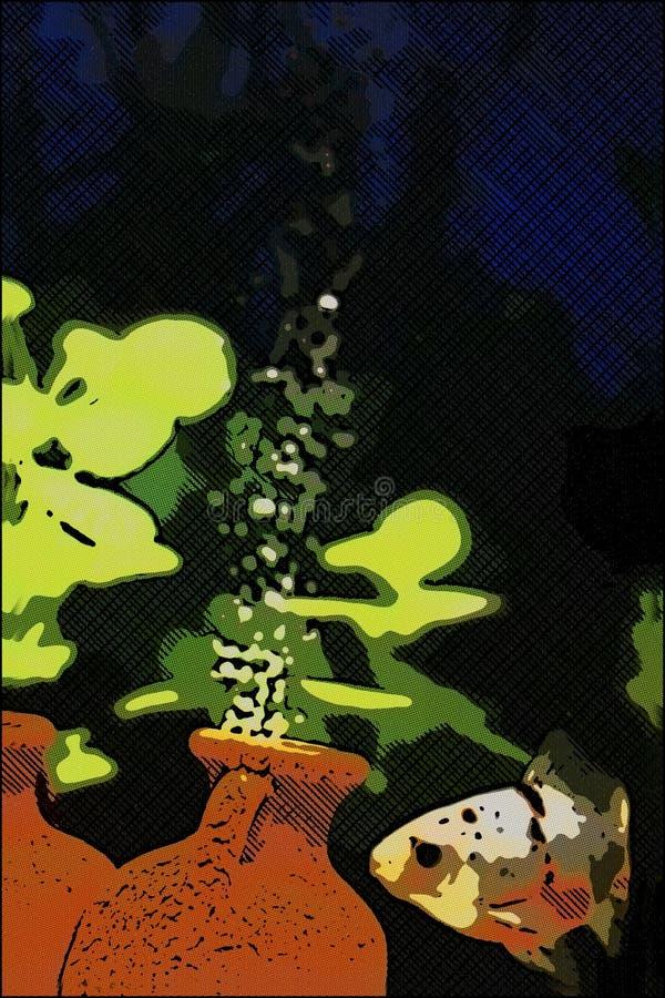abbildung Goldene Fische im Behälter lizenzfreie stockfotos