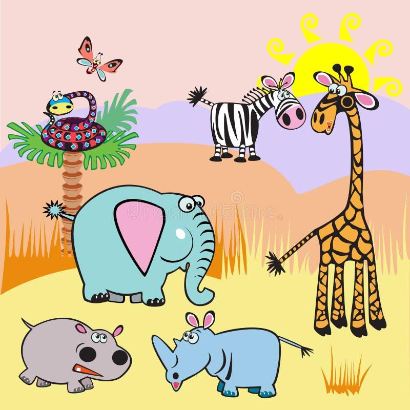 Abbildung mit Afrika-Karikaturtieren vektor abbildung
