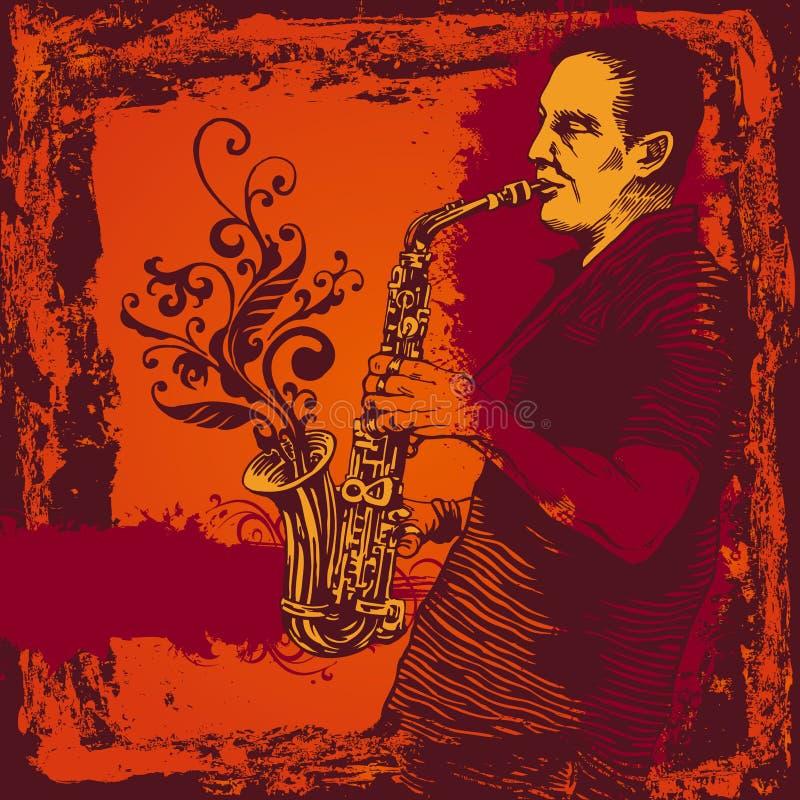 Abbildung mit Saxophonisten in der grunge Art lizenzfreie abbildung