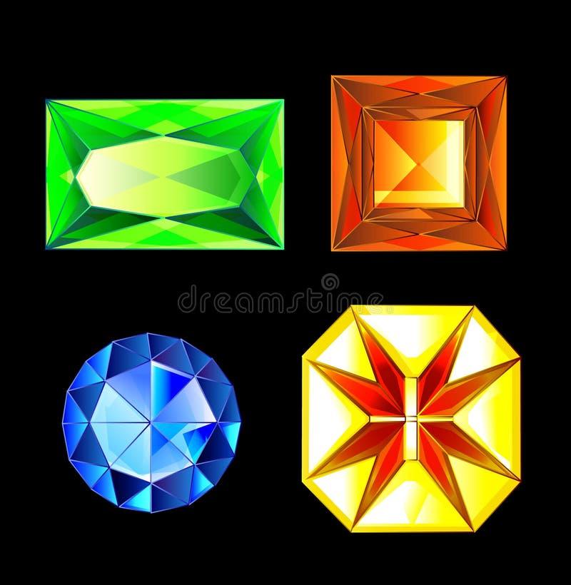 Abbildung Satz mehrfarbige Edelsteine, Kristalle des Diamanten, Amethyst, Rubin, Smaragd, Topas, Citrine steine vektor abbildung