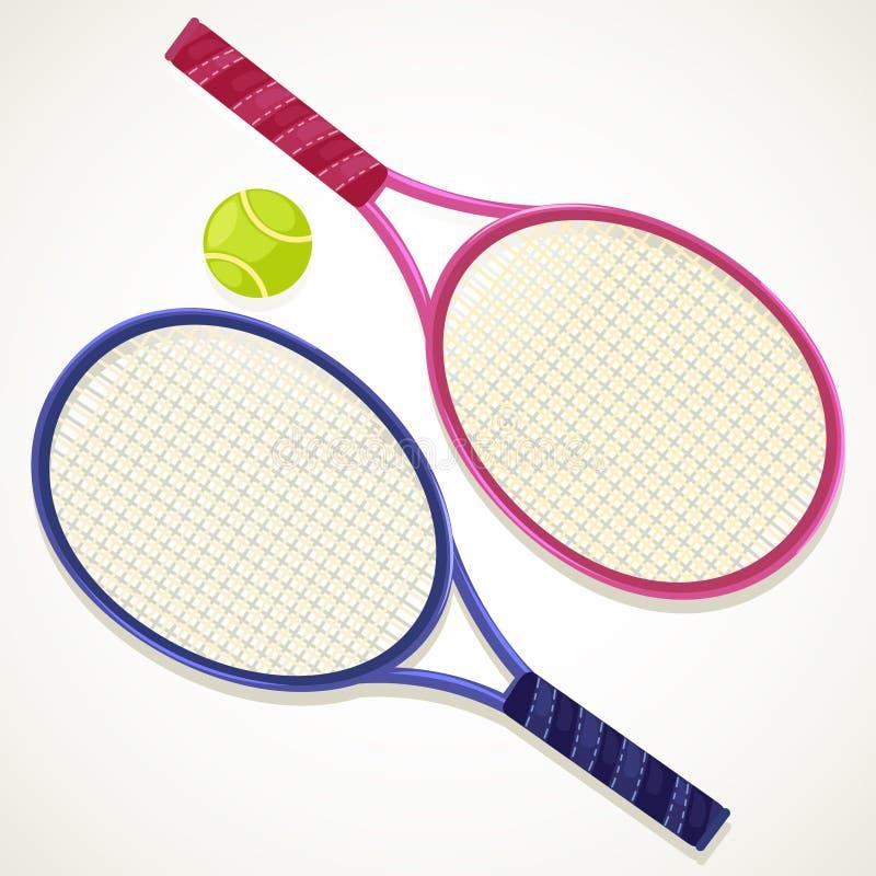 Abbildung-Tennisschläger und -kugel stock abbildung
