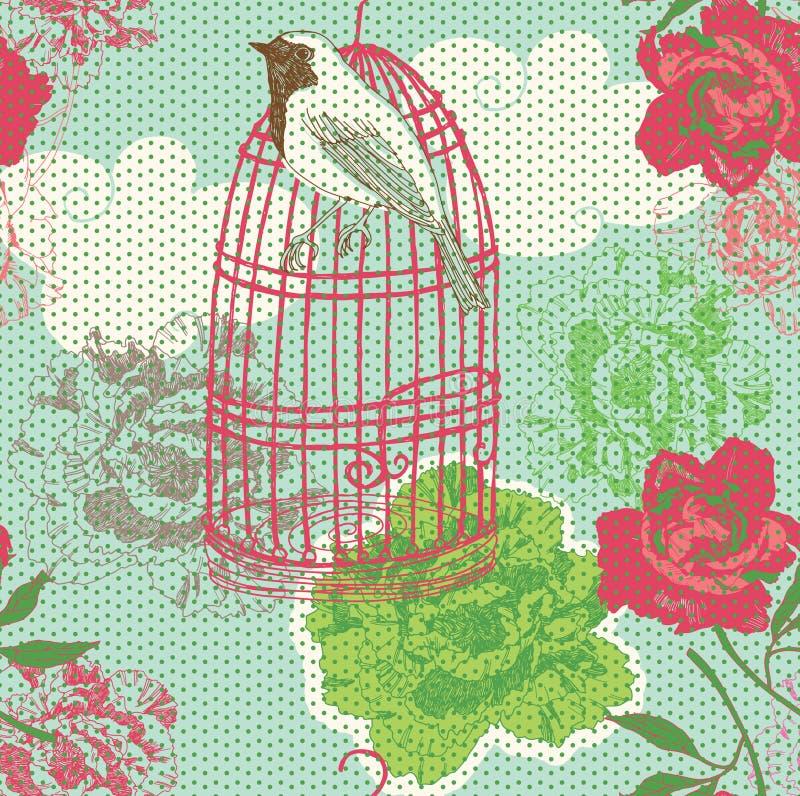 Abbildung von Birdcage, Blumen vektor abbildung