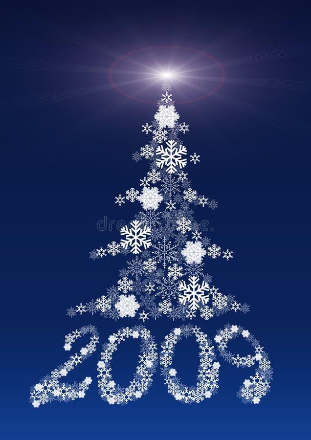 Abbildungen 2009 und ein Pelzbaum gebildet von den Schneeflocken. stock abbildung