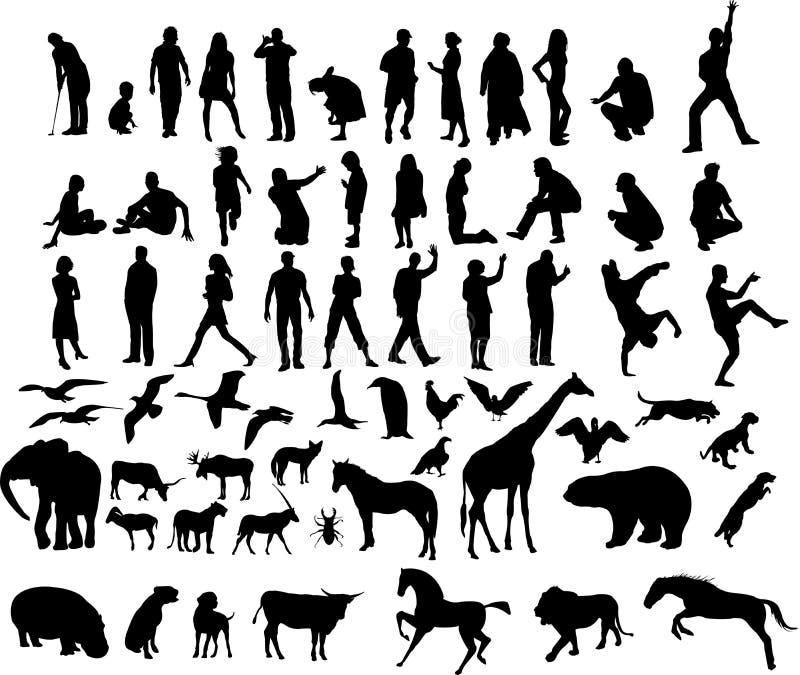 Abbildungen der Leute und der Tiere stock abbildung