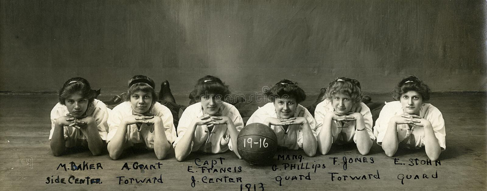 Abbot Academy Basketball Team, 1913 stock images