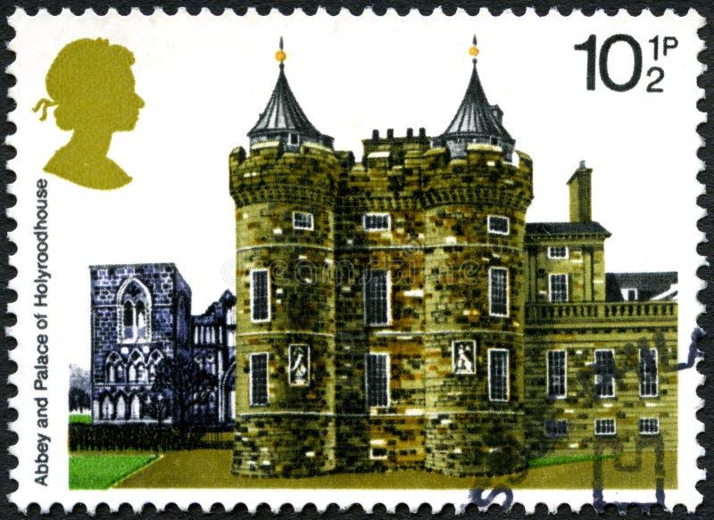 Abbotskloster och slott av den Holyroodhouse UK portostämpeln royaltyfri fotografi