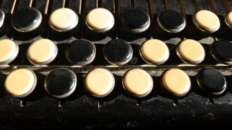 Abbottona il primo piano bayan Primo piano chiave della fisarmonica immagine stock libera da diritti