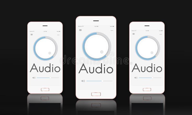 Abbottoni l'audio concetto del grafico del suono di musica del volume royalty illustrazione gratis