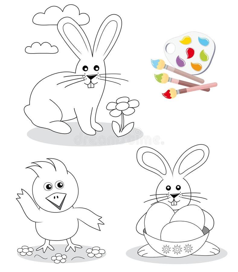 Abbozzi felici del libro di coloritura di pasqua illustrazione vettoriale