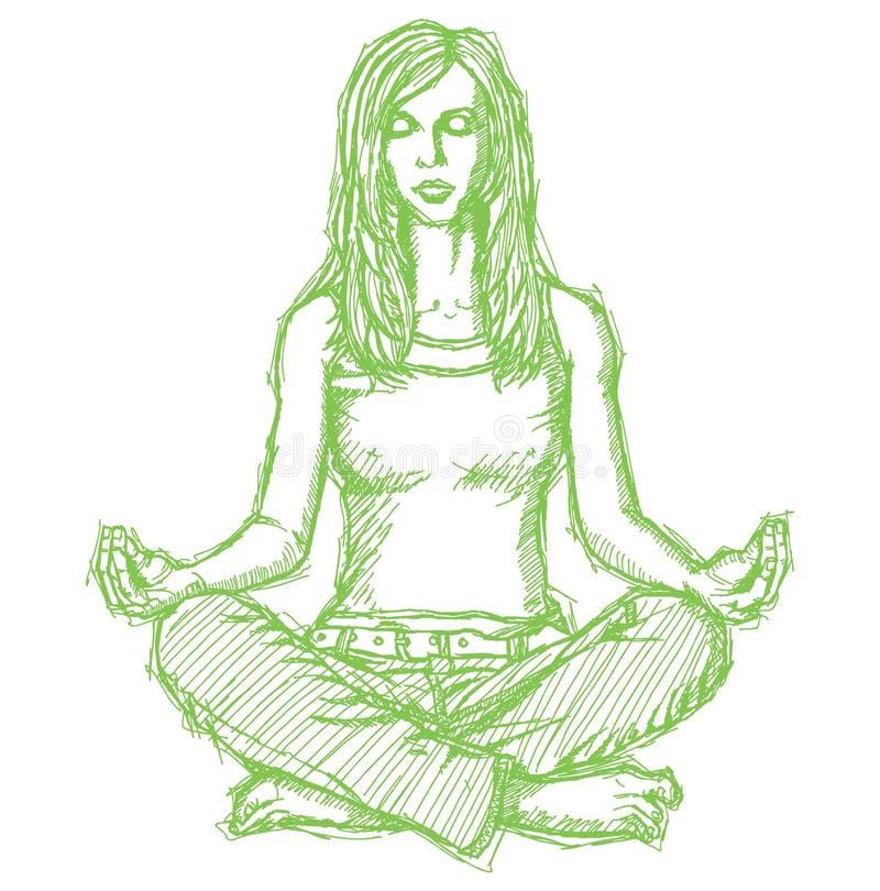 Abbozzi la meditazione della donna nella posa del loto illustrazione di stock