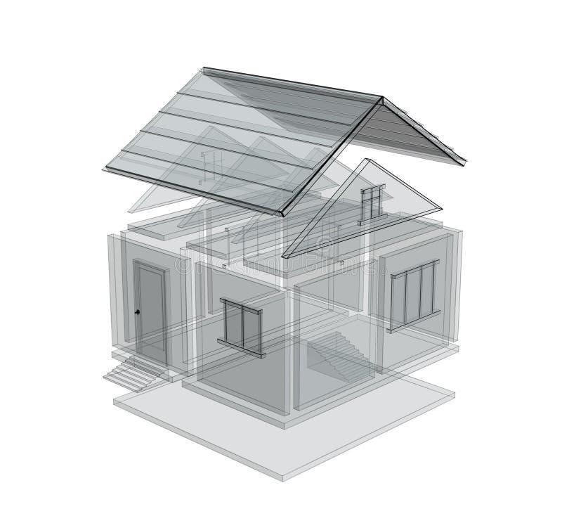 abbozzo 3d di una casa royalty illustrazione gratis
