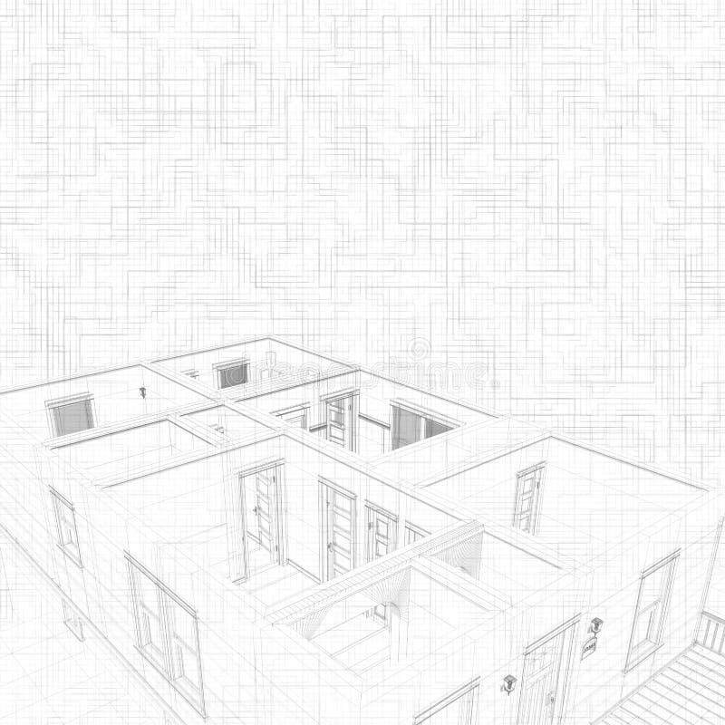 Abbozzo 3d di una casa concetto del progetto dell for Programmi 3d architettura