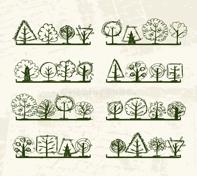 Abbozzo degli alberi sulle mensole per il vostro disegno illustrazione vettoriale