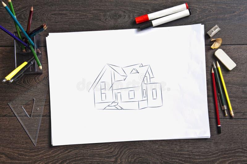 Abbozzo dei programmi di costruzione di alloggi immagine stock