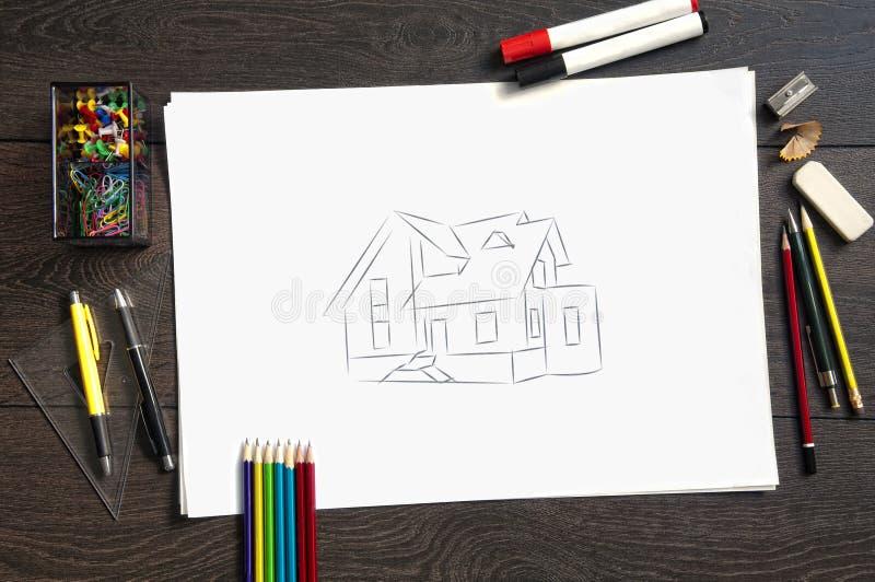 Abbozzo dei programmi di costruzione di alloggi immagini stock