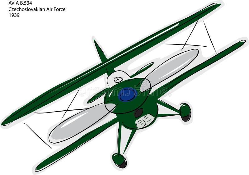 Abbozzo del biplano di Avia B.534 illustrazione vettoriale