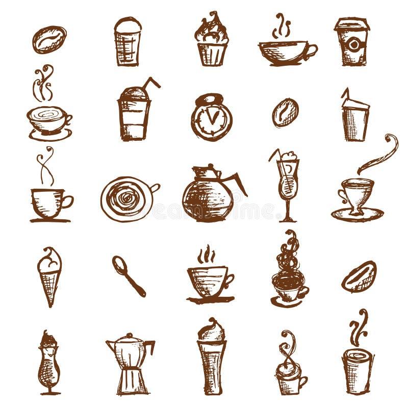 Abbozzo del caffè, elementi di disegno illustrazione vettoriale
