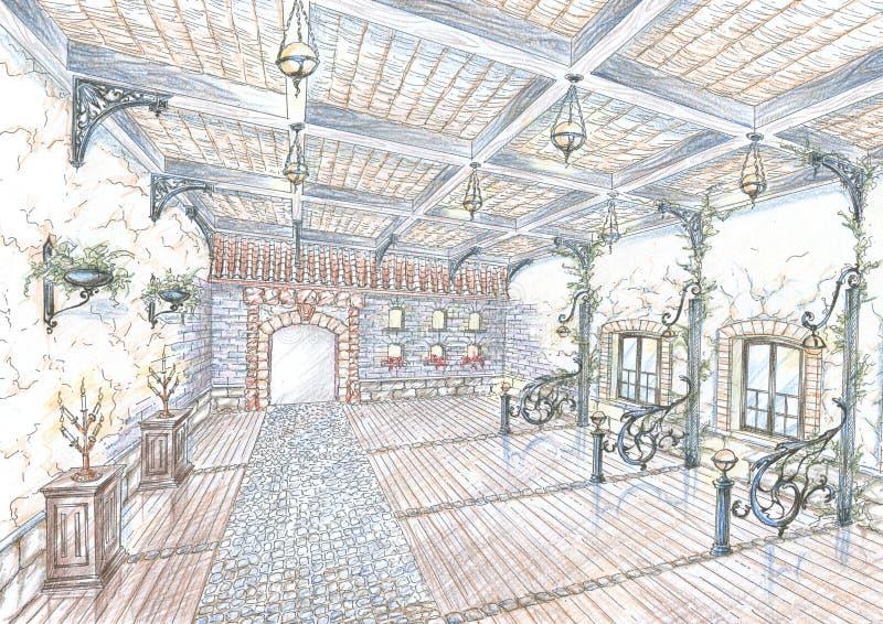 Abbozzo del corridoio del ristorante nello stile della via della città royalty illustrazione gratis