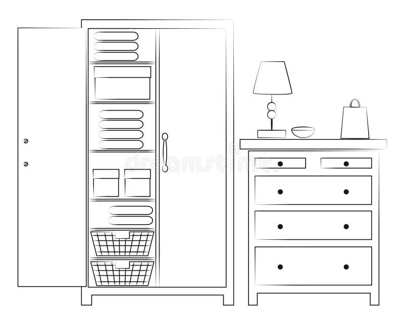 Abbozzo del guardaroba e della cassa dei cassetti royalty illustrazione gratis