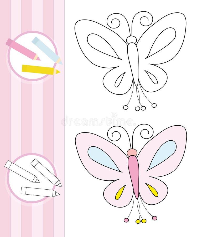 Abbozzo Del Libro Di Coloritura: Farfalla Fotografia Stock