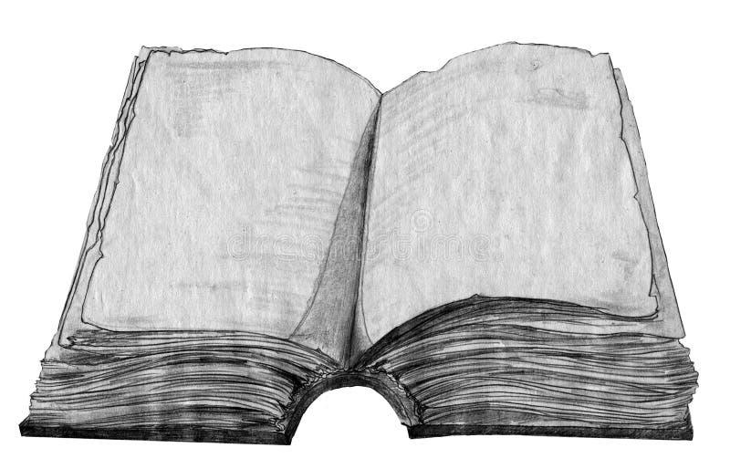 Abbozzo del vecchio libro illustrazione di stock