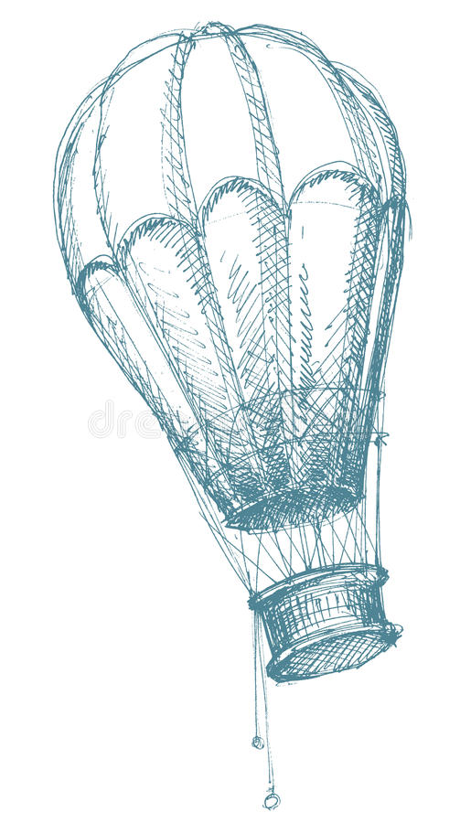 Abbozzo dell'aerostato di aria calda illustrazione di stock