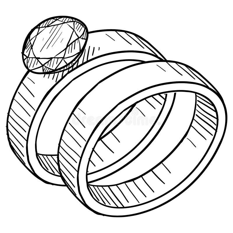 Abbozzo dell'anello di fidanzamento e di cerimonia nuziale royalty illustrazione gratis