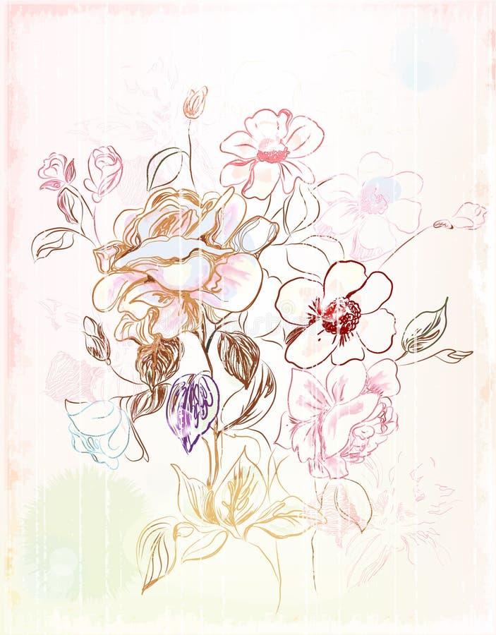 Abbozzo dell'annata dei fiori illustrazione di stock